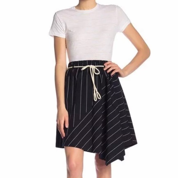 Vince Dresses & Skirts - Vince skinny stripe skirt with rope belt